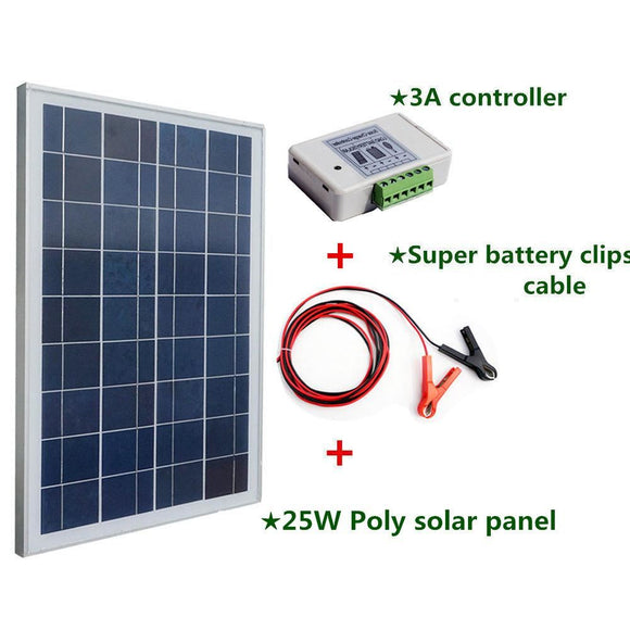 25W 12V Polycrystalline Silicon Solar Panel Charger For Photovoltaic Power Home System - $63.00