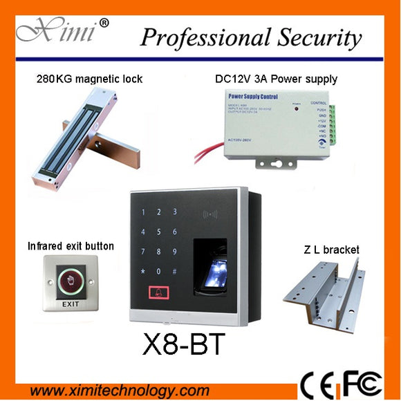 280 kg EM electromagnetic locks, 12 v power, exit buttons and the x8-bt fingerprint and bluetooth access control with ID card