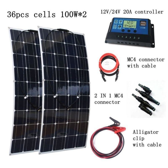2Pcs 100W Flexible Solar Panel Module With 20A Controller Quick Connection Cables 200W House-Use Power System - $269.00