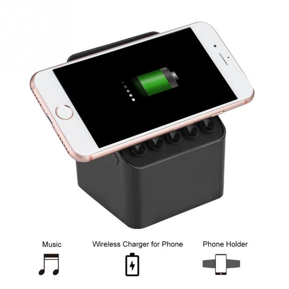 3-in-1 Portable TWS Bluetooth Speaker with Magnetic Phone Holder and Qi Charging iPhone/Samsung