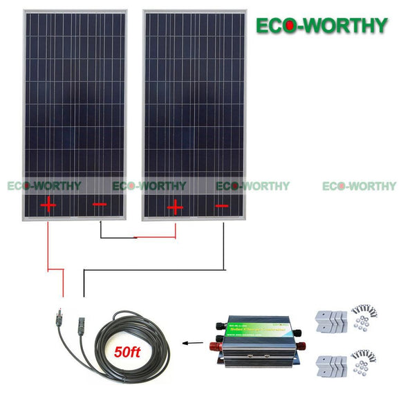 300W 24V Solar System: 2*150W Panel W/ Controller For Battery Charge - $450.00