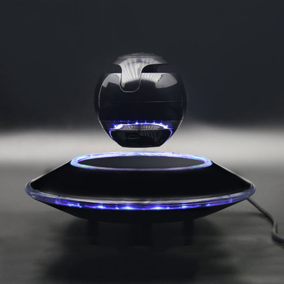 360 Rotation Magnetic Floating Bluetooth Speaker Light Suspension Ball Shape Speaker Light Flying Saucer Base Rotary Subwoofer