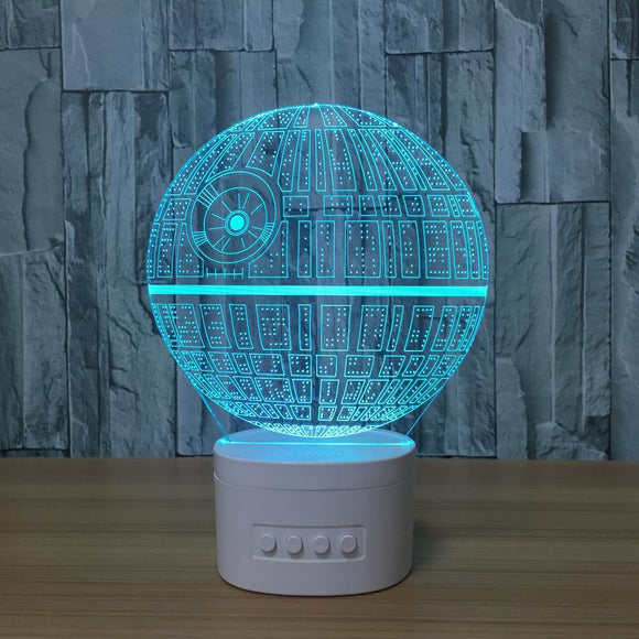 3D Night Lights Star Wars Bluetooth Speaker Music Lamp Death 5 Color Change Acrylic Table Lamp Baby Bedroom Light - $38.00