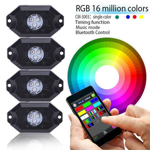 4 X Pods Music Mini Bluetooth Rgb Led Rock Light For Off Road Vehicle Drl For Jeep Car & Ford - $60.00