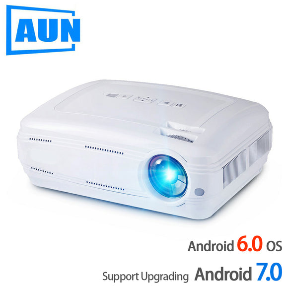 AUN AKEY2 LED Projector, 3500 Lumens Upgrade Android 7.0 Beamer. Built-in WIFI, Bluetooth, Support 4K Video Full HD 1080P LED TV