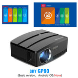 BYINTEK SKY GP80/GP80UP HD LED Mini USB HDMI Portable Projector for Home Theater 1080P Cinema (Optional Android 6.0 Version)