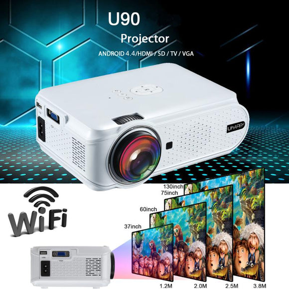 Uhappy U90 7000 Lumens 1080P HD White Portable Projector  Android 4.4 3D LED Home Theater Cinema
