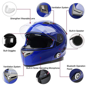 Freedconn Smart Bluetooth Motorcycle Helmet Built In Intercom Device Support 2 Riders Talking 500M And Fm Dot Standard - $203.00
