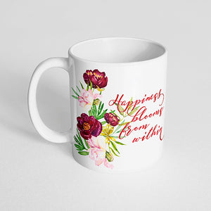 """Happiness blooms from within"" with Marsala and Pink Peonies Bouquet Mug"