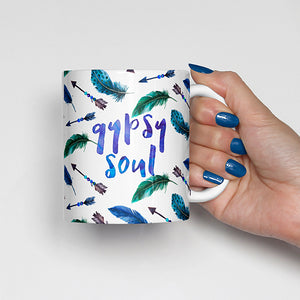 """Gypsy Soul"" with Feathers and Arrows Mug"