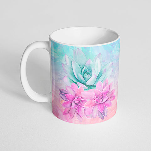 Blue and Pink Succulent Mug