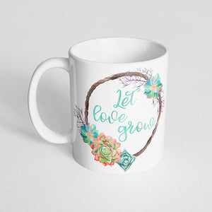 """Let love grow"" Succulent Mug"
