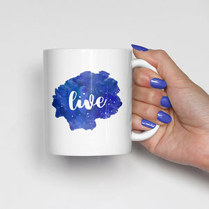 """Live"" on Blue Watercolor Mug"