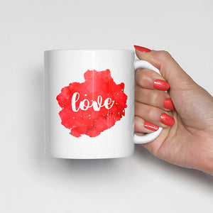 """Love"" on Red Watercolor Mug"