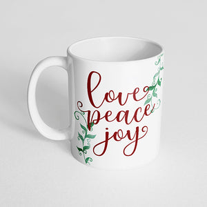"""Love peace joy"" Mug"
