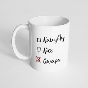 """Naughty Nice Gwapo"" Checklist, Christmas Mug"