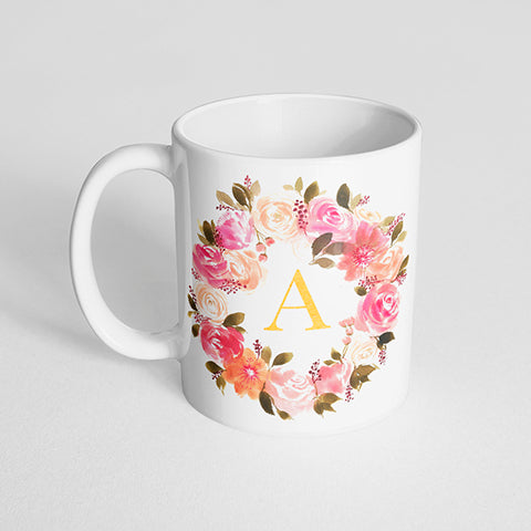 Lush Pink Floral Wreath with Letter Initial Mug
