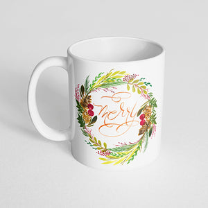 """Merry"" Christmas Wreath Mug"