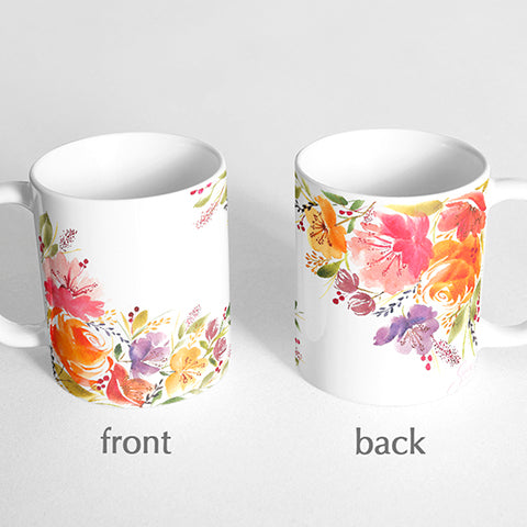 Pink and orange florals Mug