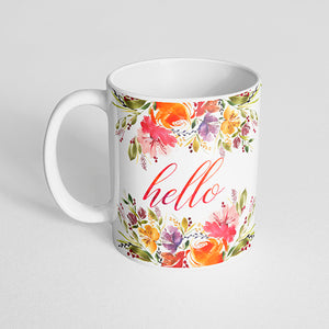 """Hello"" Pink and orange florals Mug"