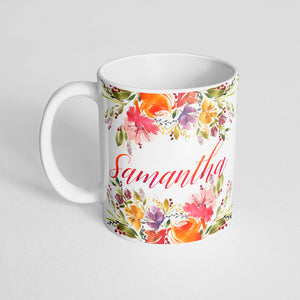 Your name with pink and orange watercolor florals Mug
