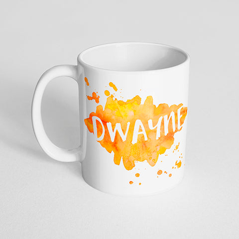 Your Name with a Watercolor Splatter Design on a Classic White Mug- Version 2