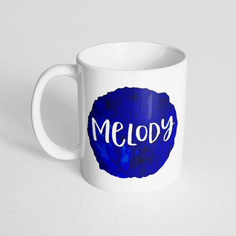 Your Name with a Round Watercolor Design on a Classic White Mug