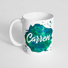 Your Name with a Watercolor Splatter Design on a Classic White Mug- Version 3