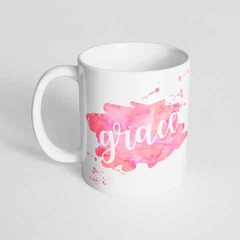 Your Name with a Watercolor Splatter Design on a Classic White Mug- Version 4
