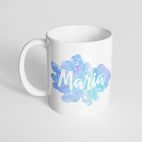 Your Name with a Watercolor Splatter Design on a Classic White Mug- Version 5