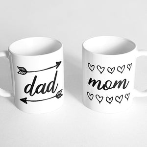 """Dad"" and ""Mom"" Couple Mugs"