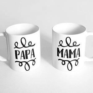 """Papa"" and ""Mama"" Couple Mugs"