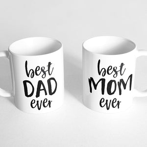 """Best dad ever"" and ""best mom ever"" Couple Mugs"