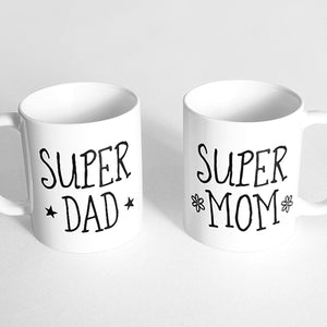"""Super dad"" and ""Super mom"" Couple Mugs"