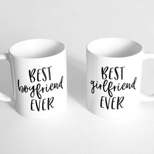 """Best boyfriend ever"" and ""best girlfriend ever"" Couple Mugs"