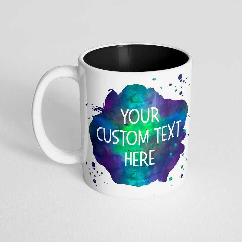 Your Custom Text with Watercolor Splatter Design on a Black Innercolor Mug