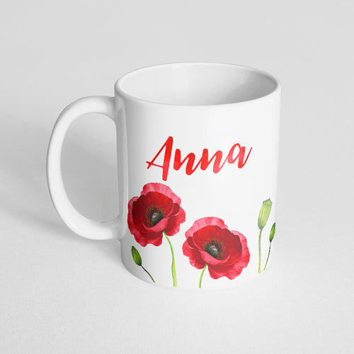 Your name with red watercolor florals Mug