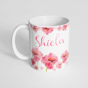 Your name with pink watercolor florals Mug