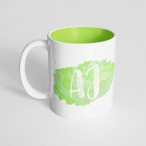 Your Name with a Light Green Watercolor Design on a Light Green Innercolor Mug