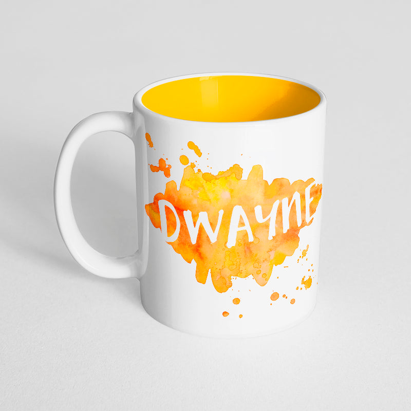 Your Name with a Yellow Orange Watercolor Design on a Yellow Innercolor Mug