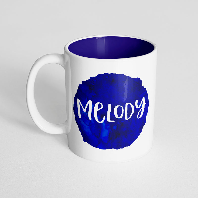 Your Name with a Dark Blue Watercolor Design on a Dark Blue Innercolor Mug