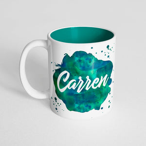 Your Name with a Blue Green Watercolor Design on a Dark Green Innercolor Mug