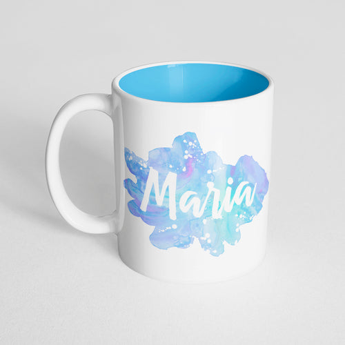 Your Name with a Blue Lavender Watercolor Design on a Light Blue Innercolor Mug