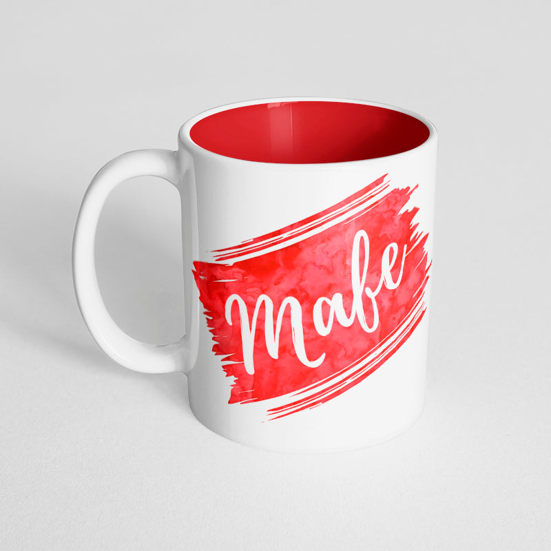 Your Name with a Red Watercolor Design on a Red Innercolor Mug