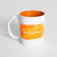Your Name with an Orange Watercolor Design on an Orange Innercolor Mug