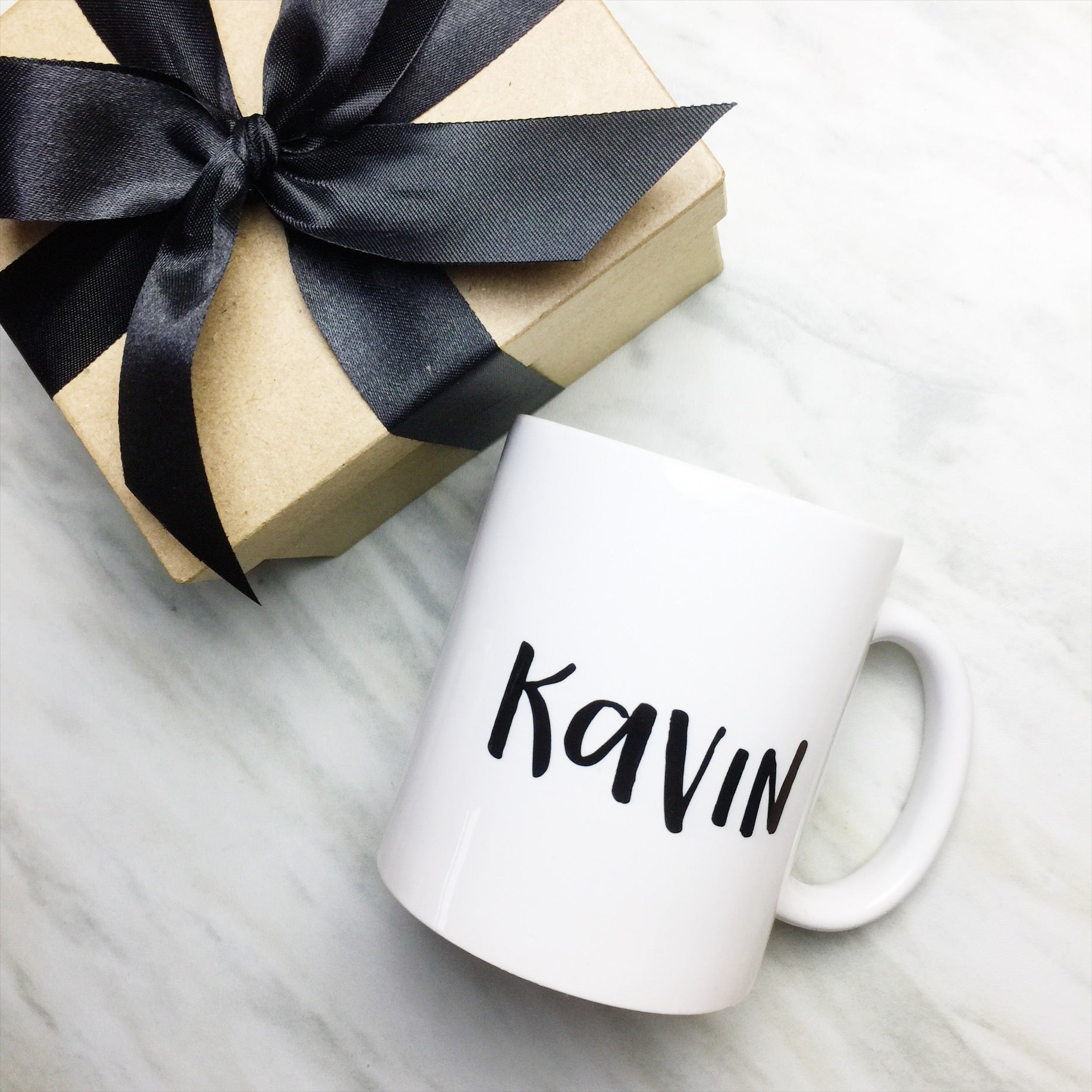 Your Name on a Classic White Mug + Special Gift Box and Black Ribbon ...