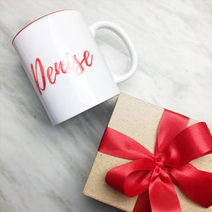 Your Name on a Red Inner-color Mug + Special Gift Box and Red Ribbon