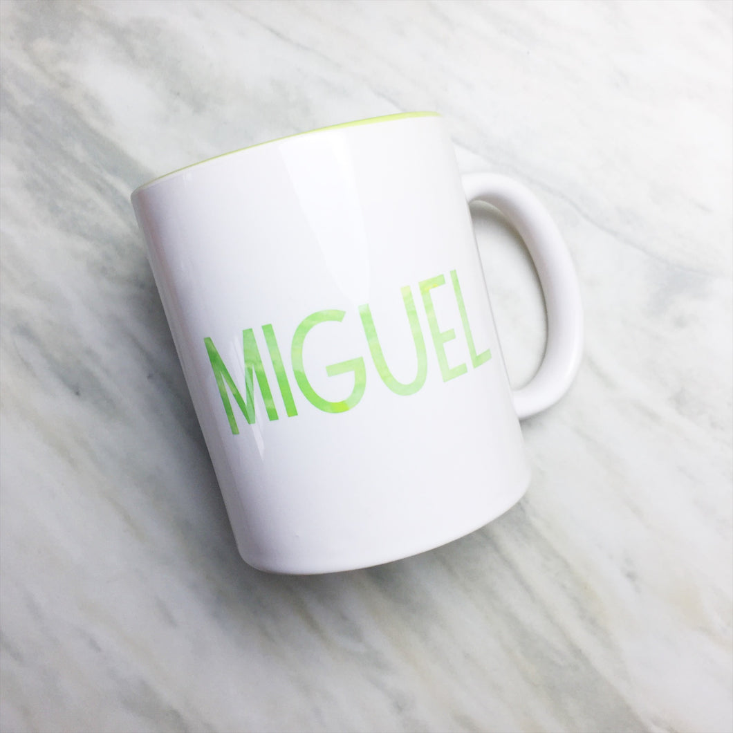 Your Name on a Light Green Inner-color Mug