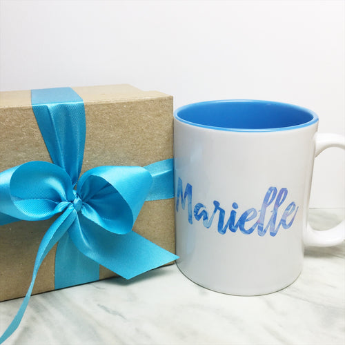 Your Name on a Light Blue Inner-color Mug + Special Gift Box and Blue Ribbon