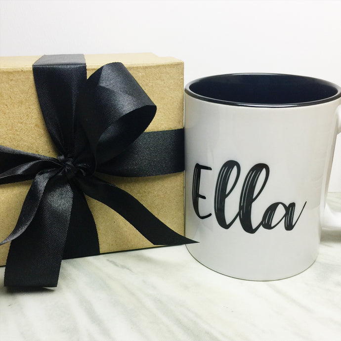 Your Name on a Black Inner-color Mug + Special Gift Box and Black Ribbon